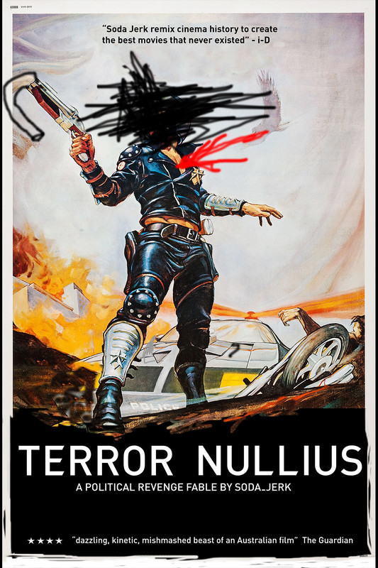 TERROR NULLIUS - is a political revenge fable which offers an un-writing of Australian national mythology. It works entirely within and against the official archive, in order to achieve a queering and othering of Australian cinema. Part political satire, eco-horror and road movie, TERROR NULLIUS is a world in which minorities and animals conspire, and not-so-nice white guys finish last. Where idyllic beaches host race-riots, governments poll love-rights, and the perils of hypermasculinity are overshadowed only by the enduring horror of Australia's colonising myth of terra nullius.
