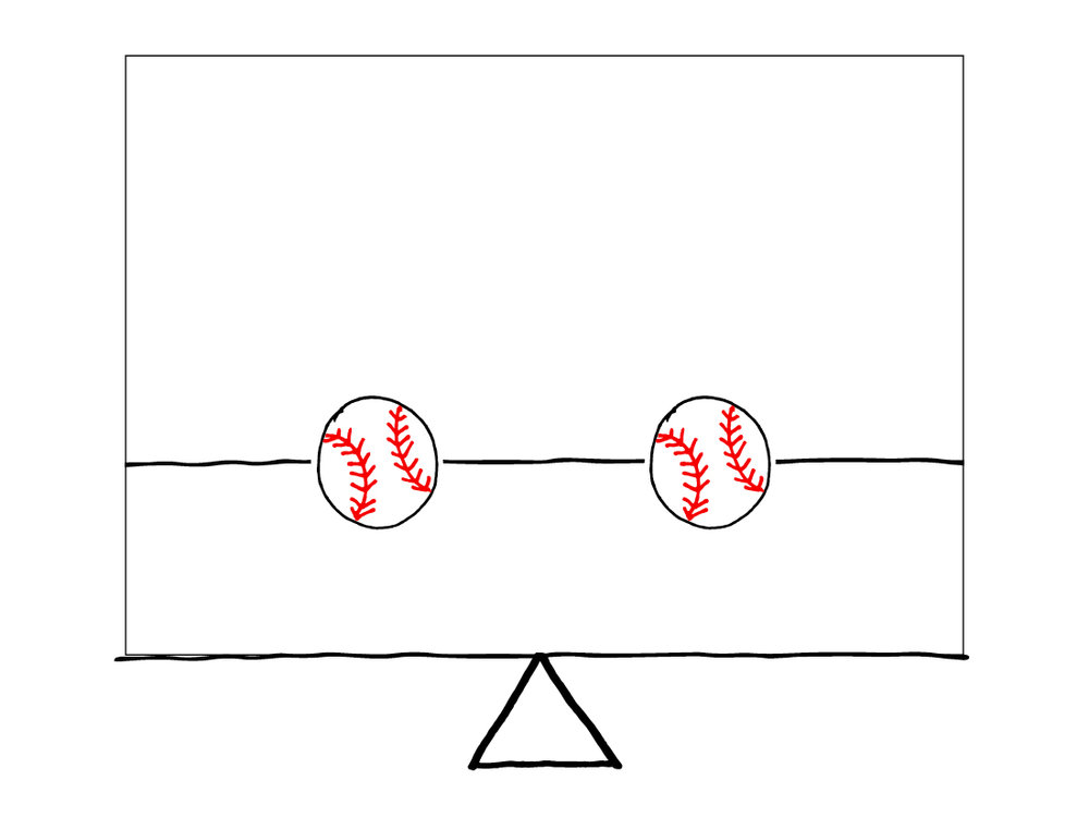 Balanced - 2 baseballs equally spaced