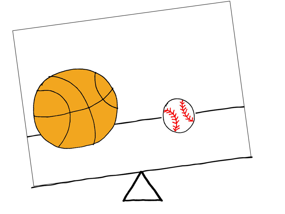 Unbalanced - 1 basketball & 1 baseball equally spaced