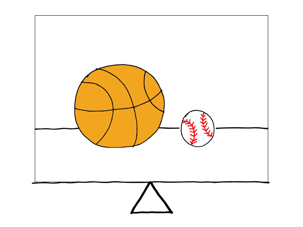 Balanced - 1 basketball & 1 baseball not equally spaced