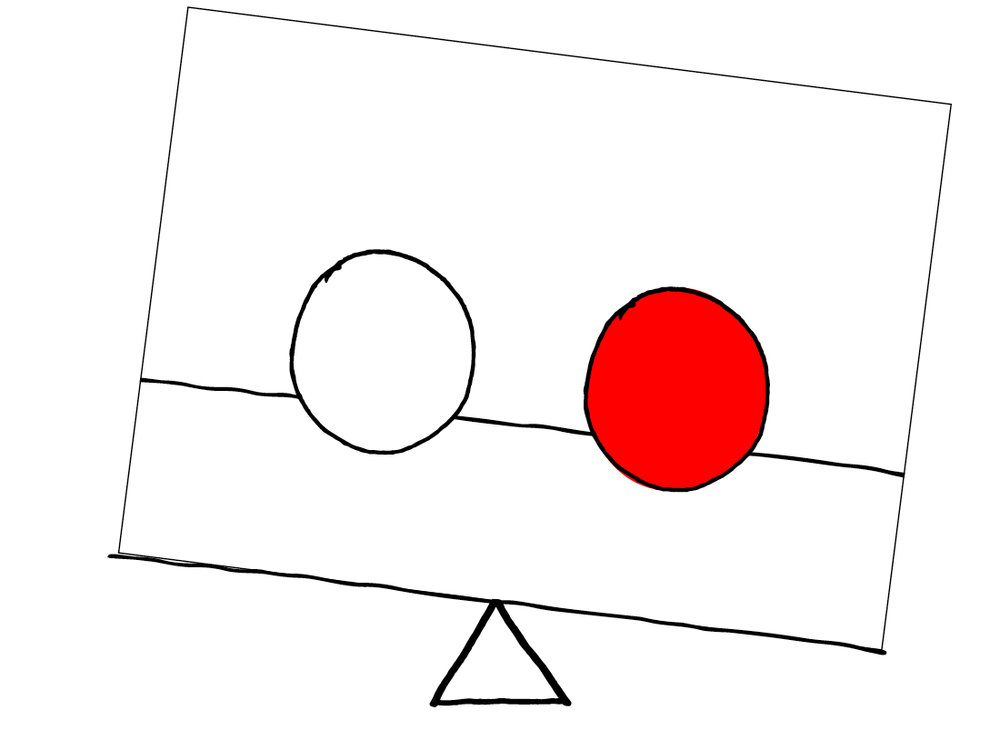 Unbalanced - 1 red ball & 1 white ball of the same size equally spaced