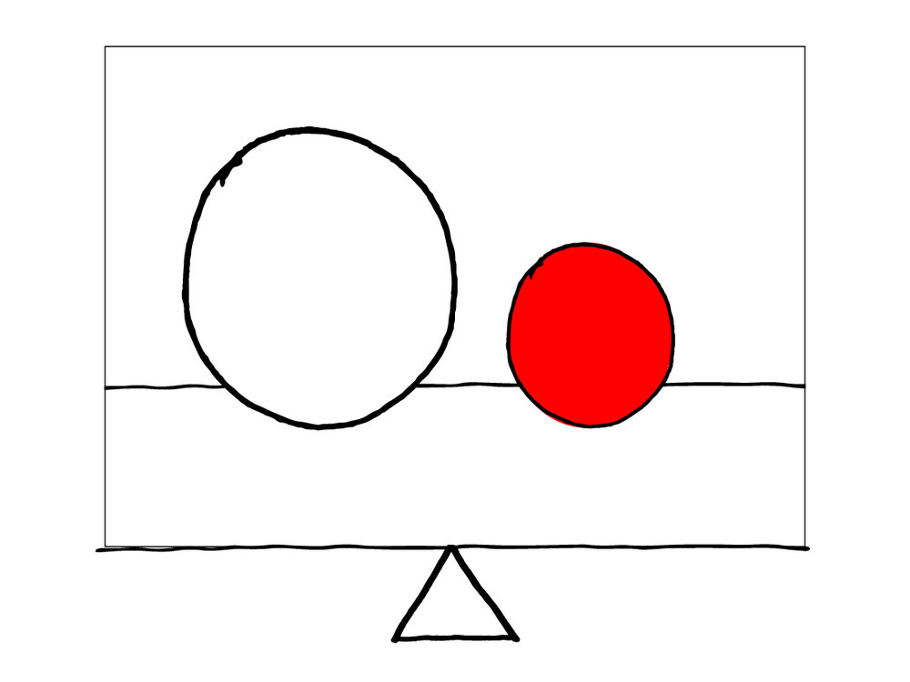 Balanced - 1 small red ball & 1 large white ball equally spaced