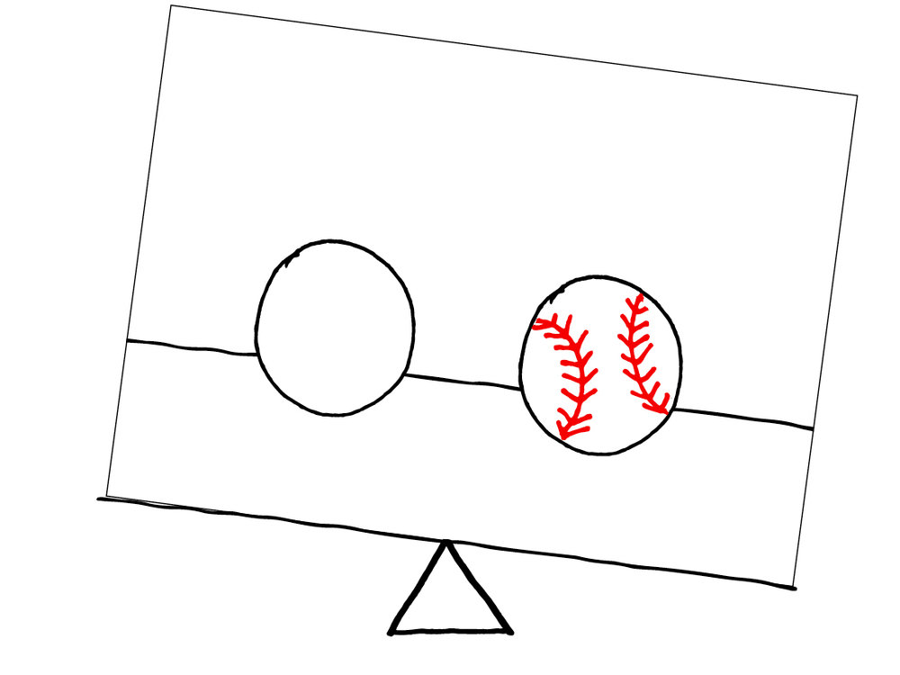 Unbalanced - 1 baseball & 1 ball of the same size equally spaced