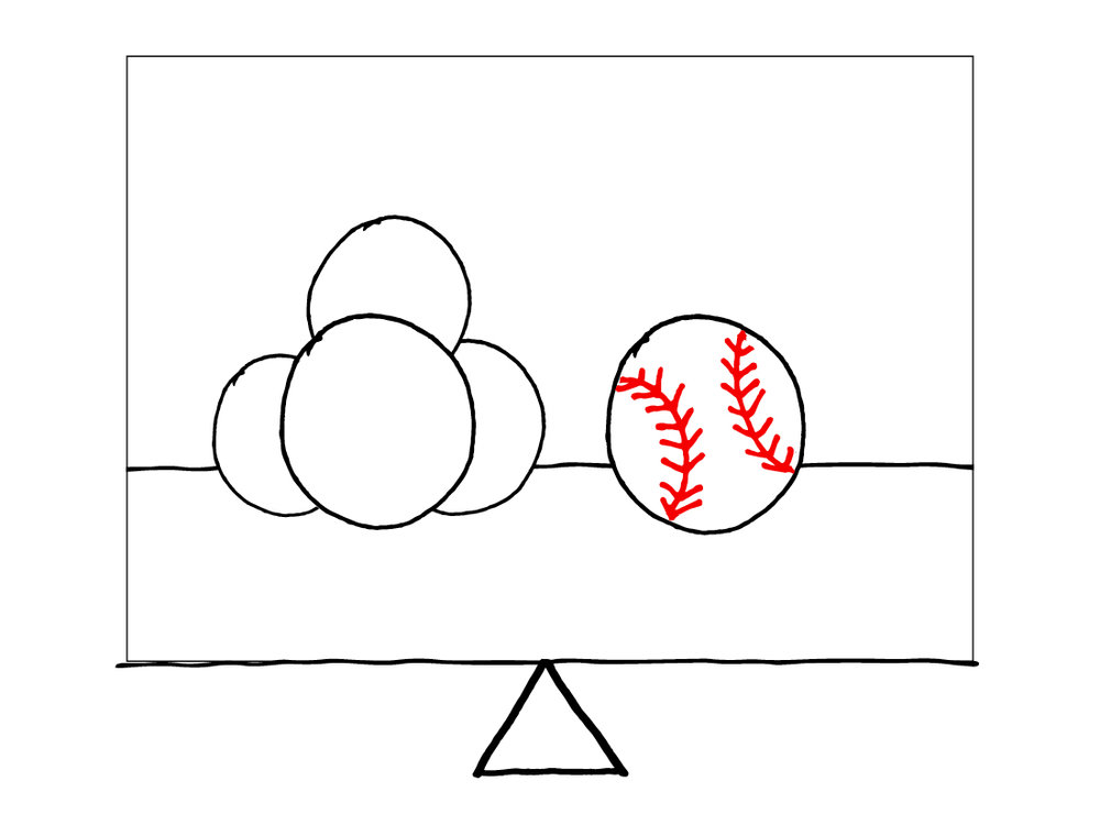 Balanced - 1 baseball & multiple balls of the same size