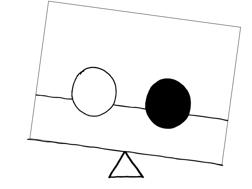 Unbalanced - Same size Dark circle & white circle equally spaced