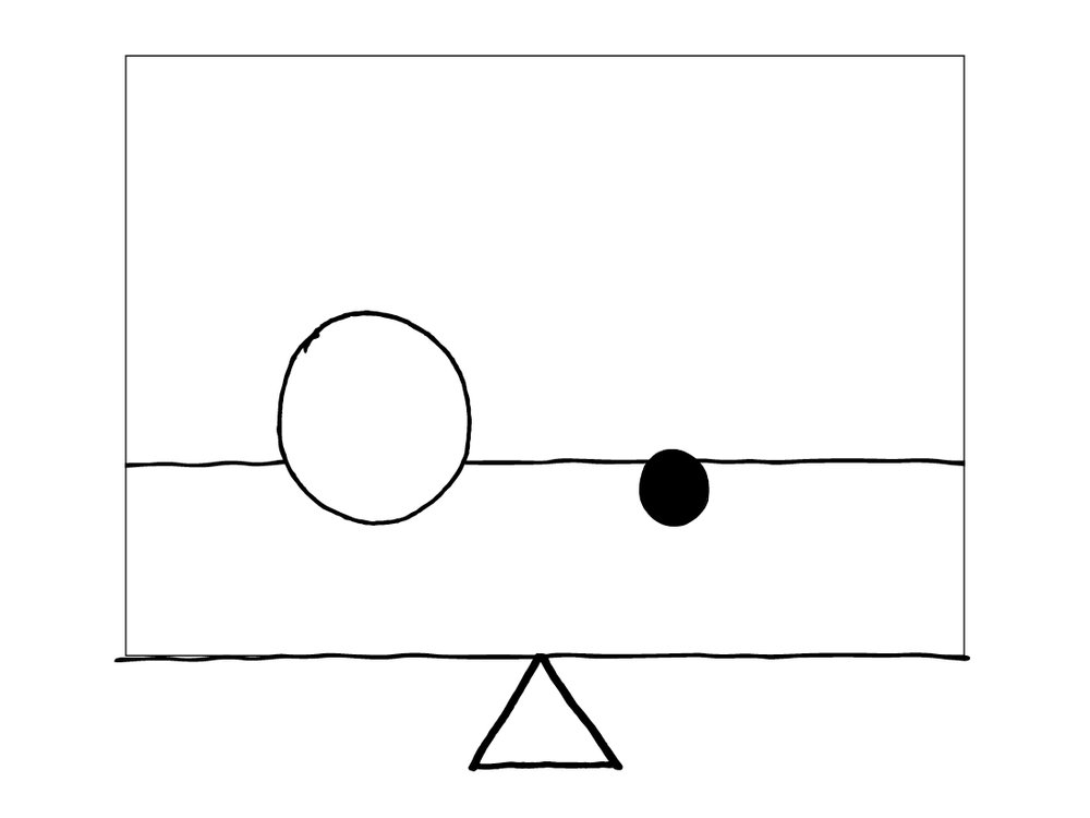 Balanced - Larger white circle and smaller dark circle equally spaced