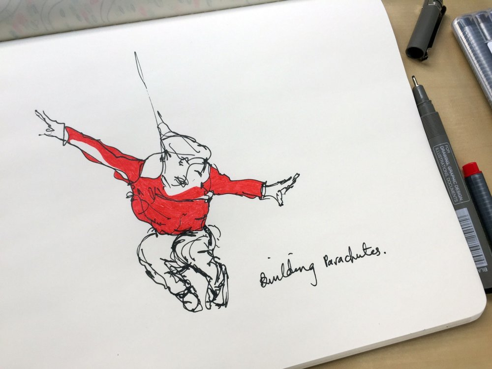 Bulding parachutes. Drawing by Luke Hockley
