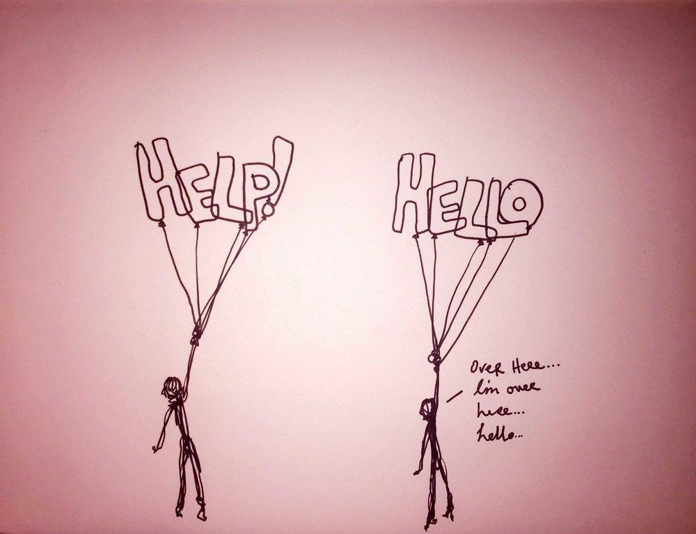 Help! Hello. Drawing Luke Hockley.