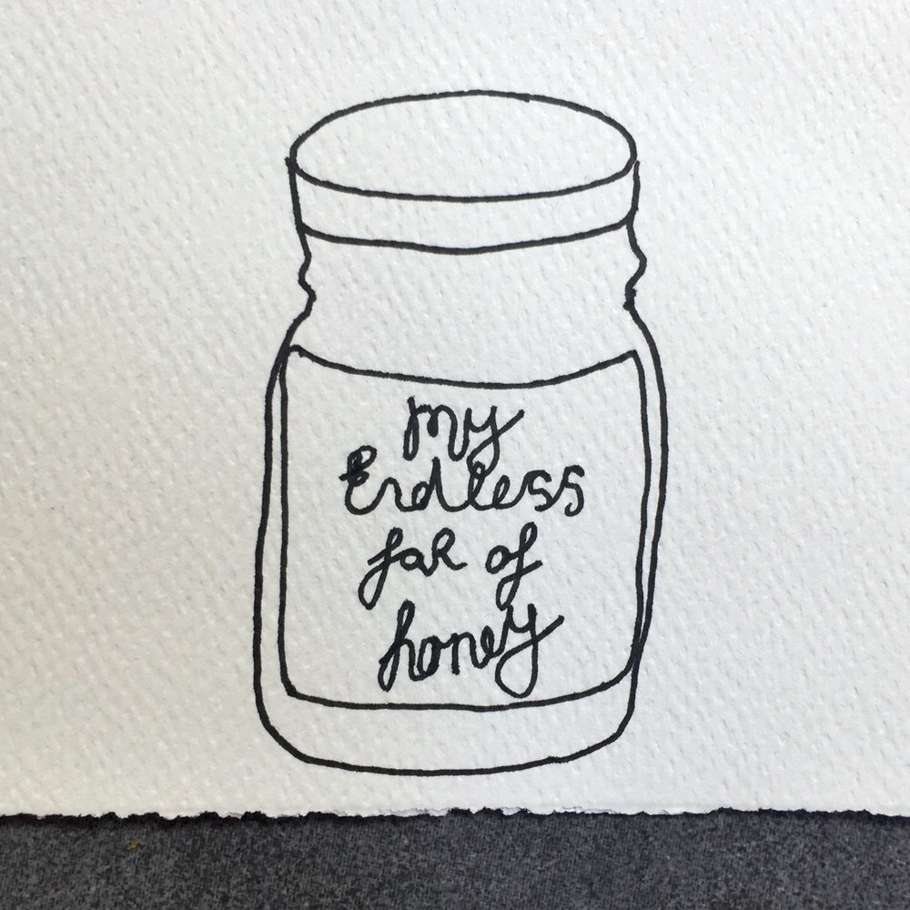 My endless jar of honey. Drawing Luke Hockley.
