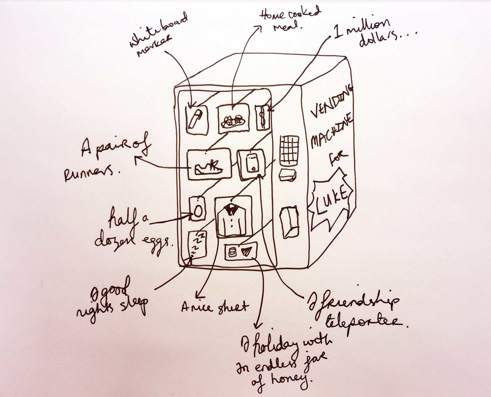 The perfect vending machine. Drawing Luke Hockley