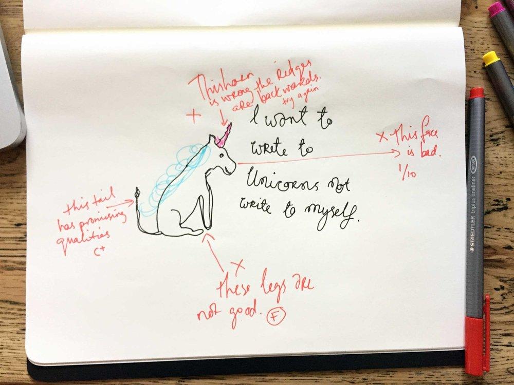 I want to write to Unicorns. Drawing Luke Hockley.