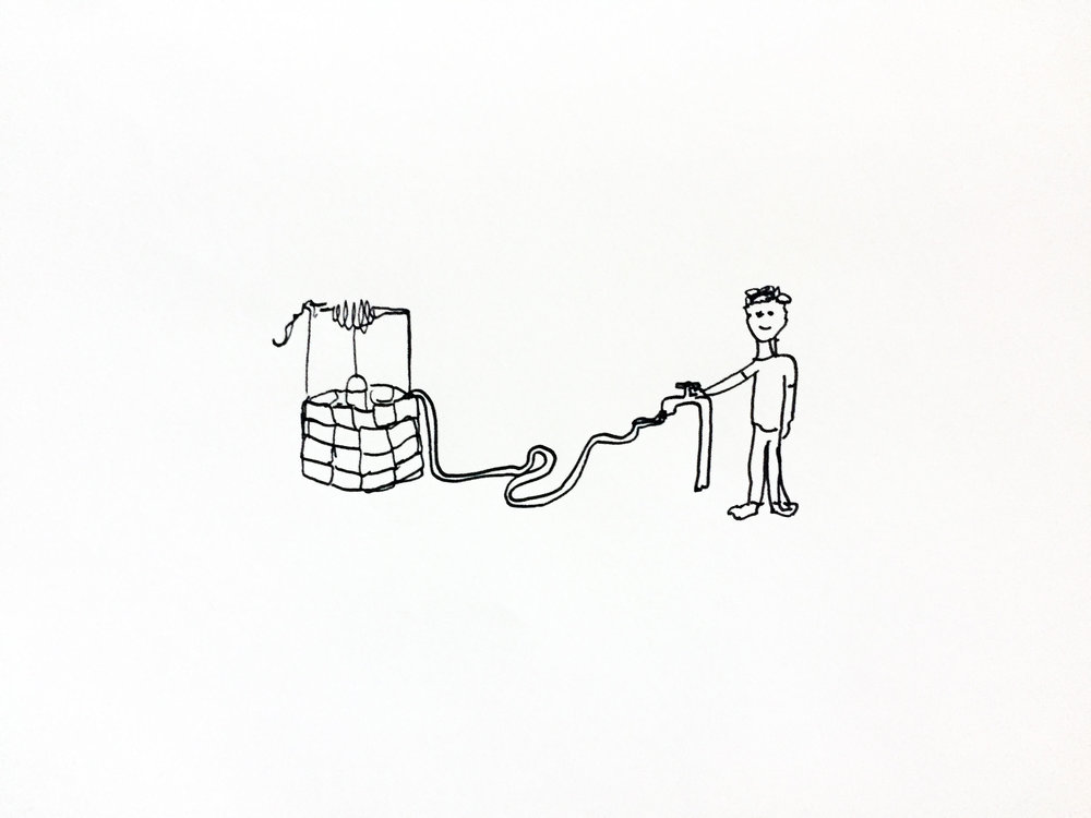 Turn the tap on. Drawing Luke Hockley.