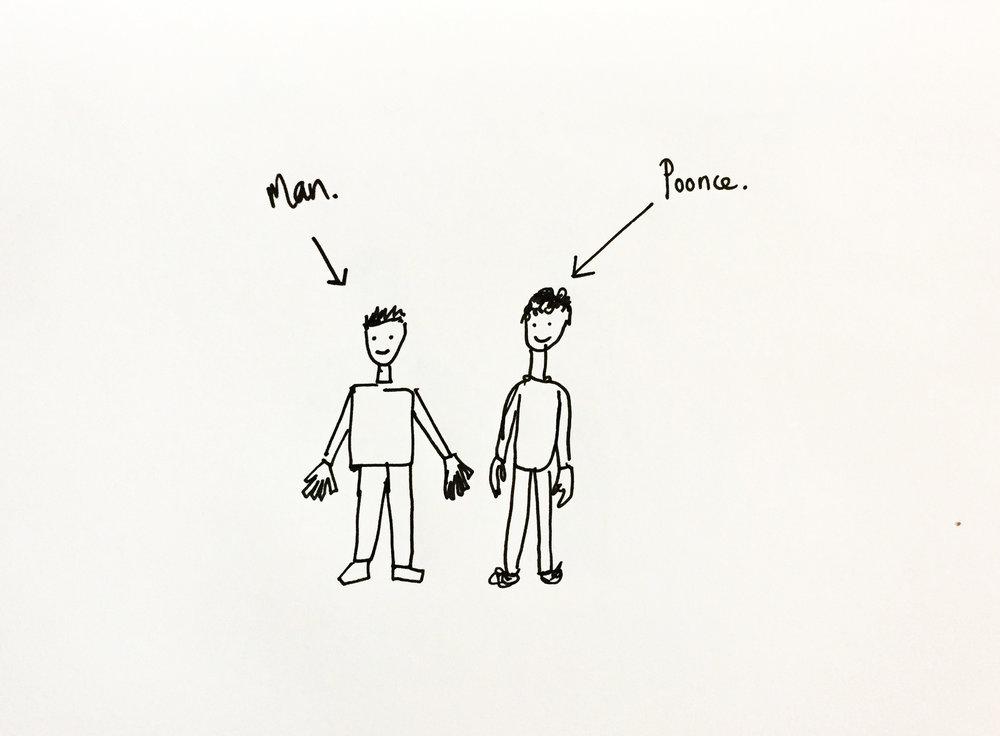 Poonce. Drawing Luke Hockley.