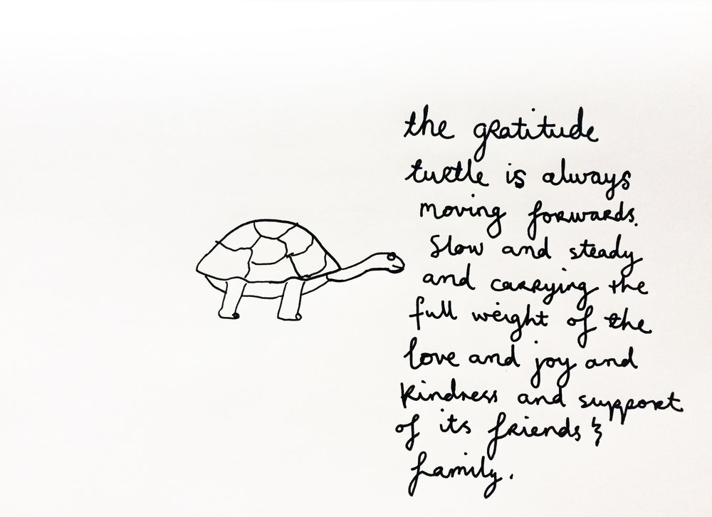 A grateful turtle. Drawing Luke Hockley.