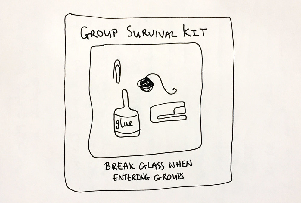 Group survival kit. Drawing Luke Hockley.