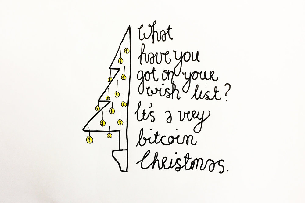 It's a very Bitcoin Christmas. Drawing Luke Hockley.