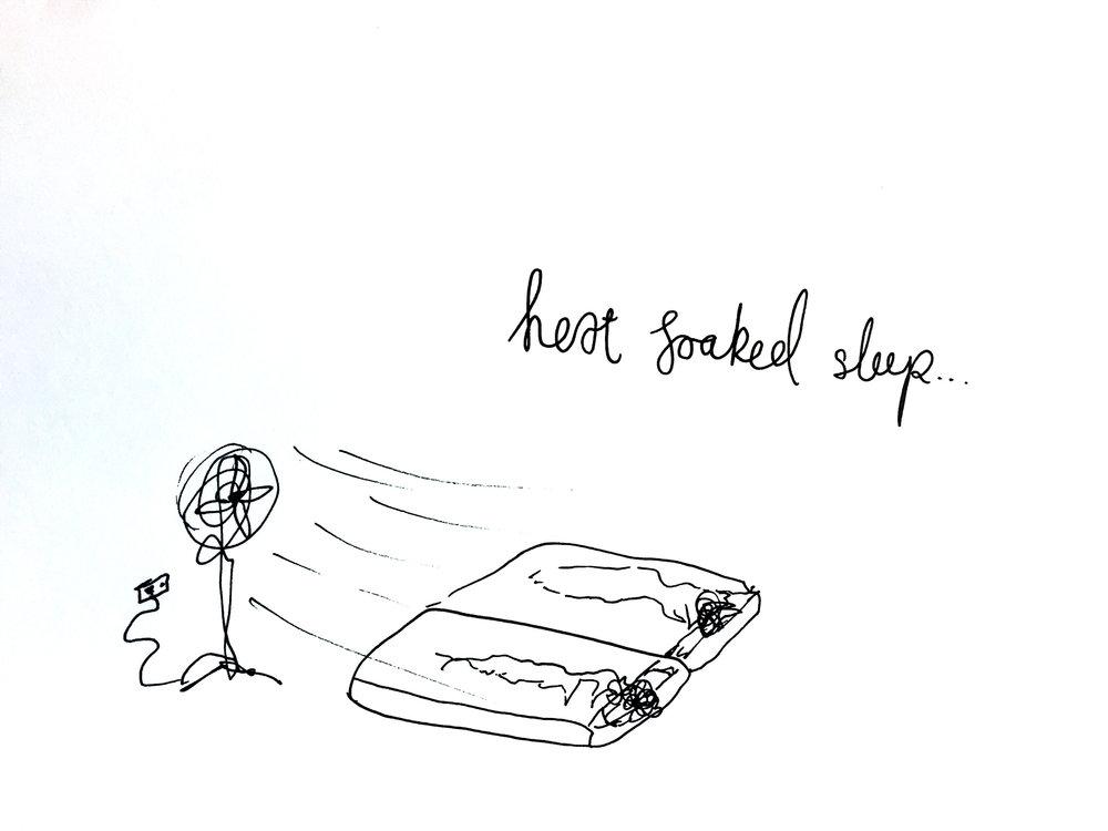Heat soaked sleep. Drawing Luke Hockley.