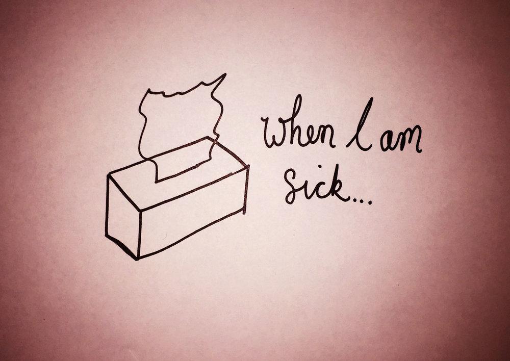 When I am sick. Drawing Luke Hockley.