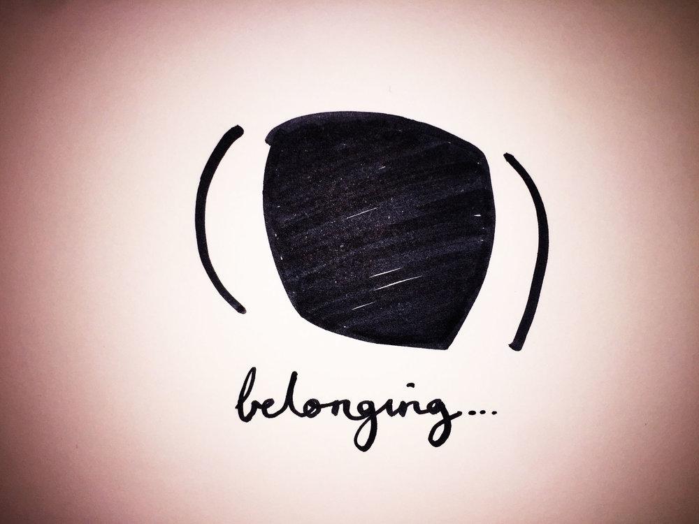 Belonging. Drawing Luke Hockley.