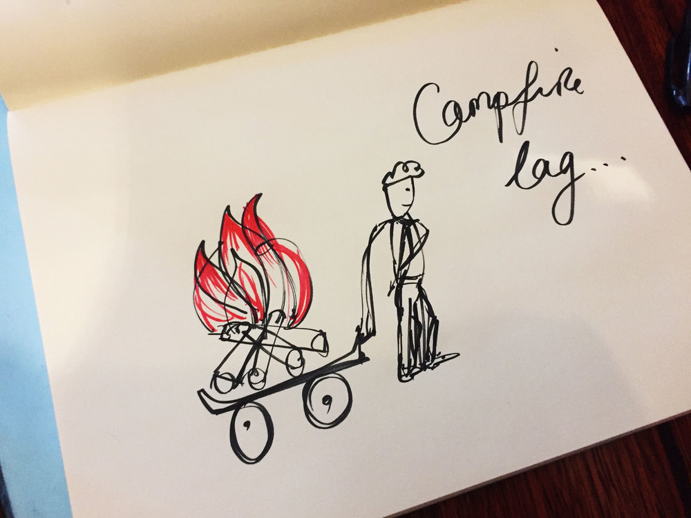 Campfire lag. Drawing Luke Hockley.