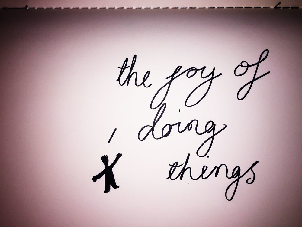 The joy of doing things. Drawing by Luke Hockley.