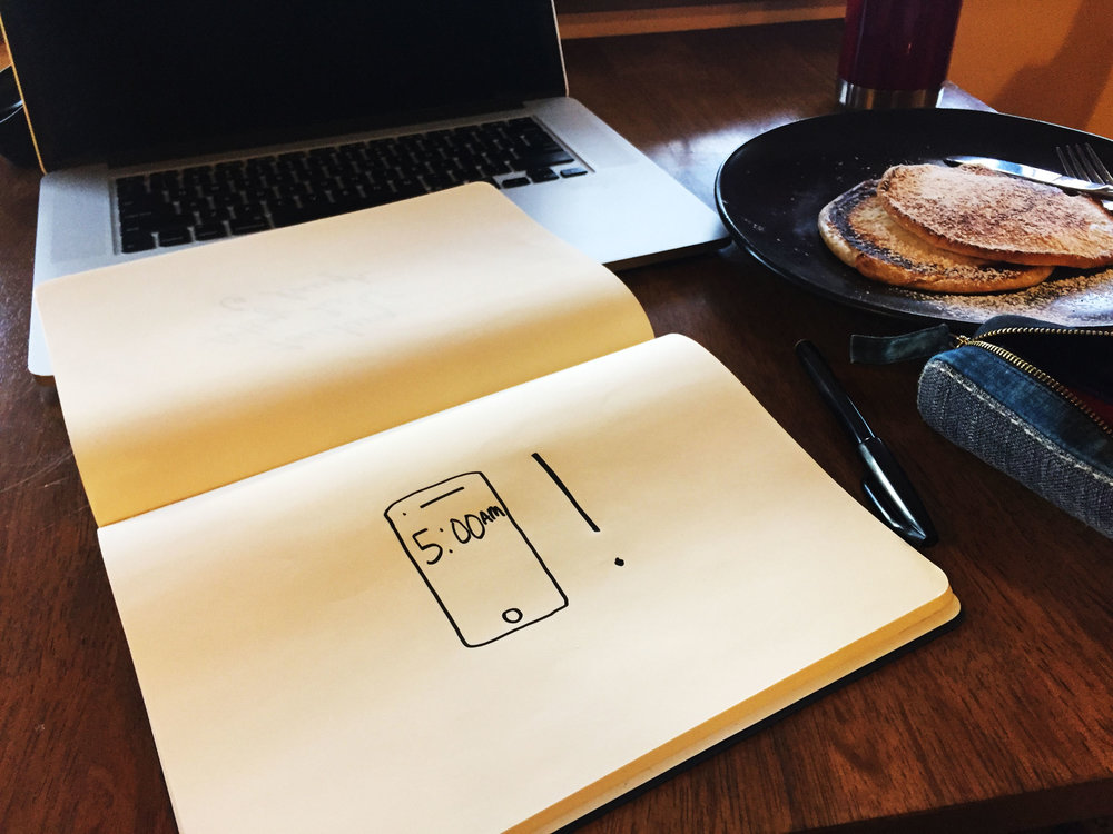Five AM. Drawing Luke Hockley.