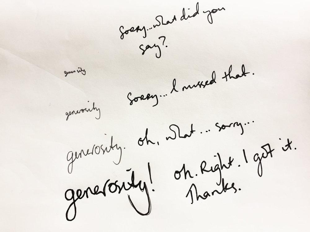 Generosity. Drawing Luke Hockley.