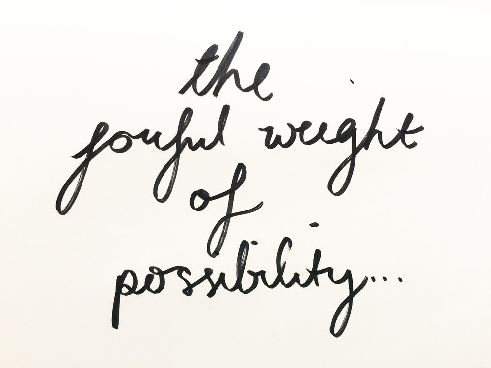 The joyful weight of possibility. Drawing Luke Hockley.