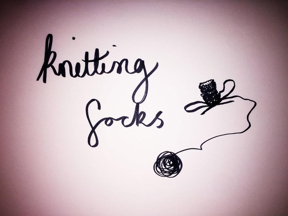 Knitting socks. Drawing Luke Hockley.
