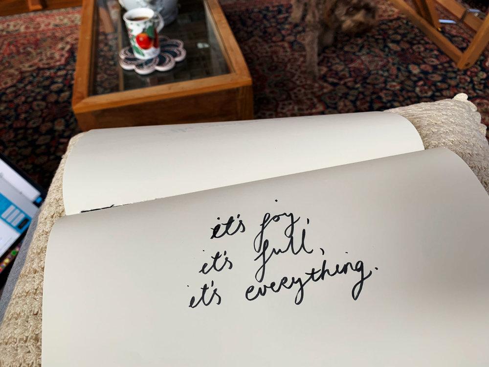 It's joy, it's full, it's everything. Drawing Luke Hockley.