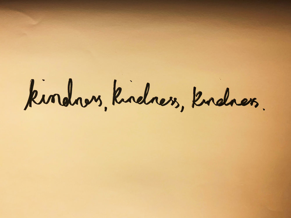 Kindness, kindness, kindness. Drawing Luke Hockley.