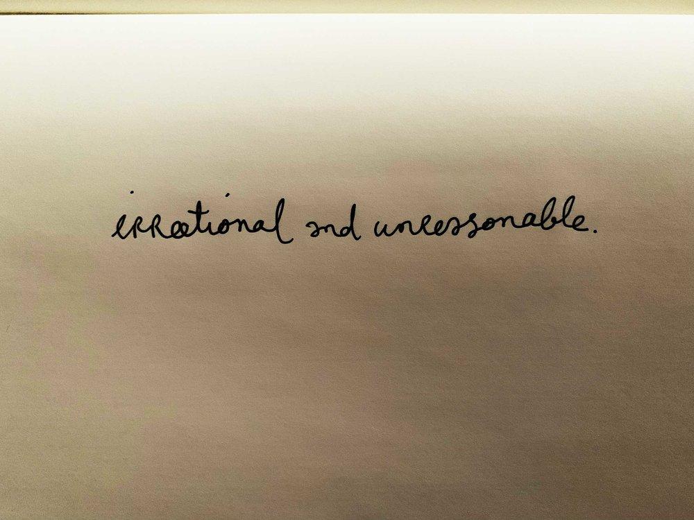 Irrational and unreasonable. Drawing Luke Hockley.