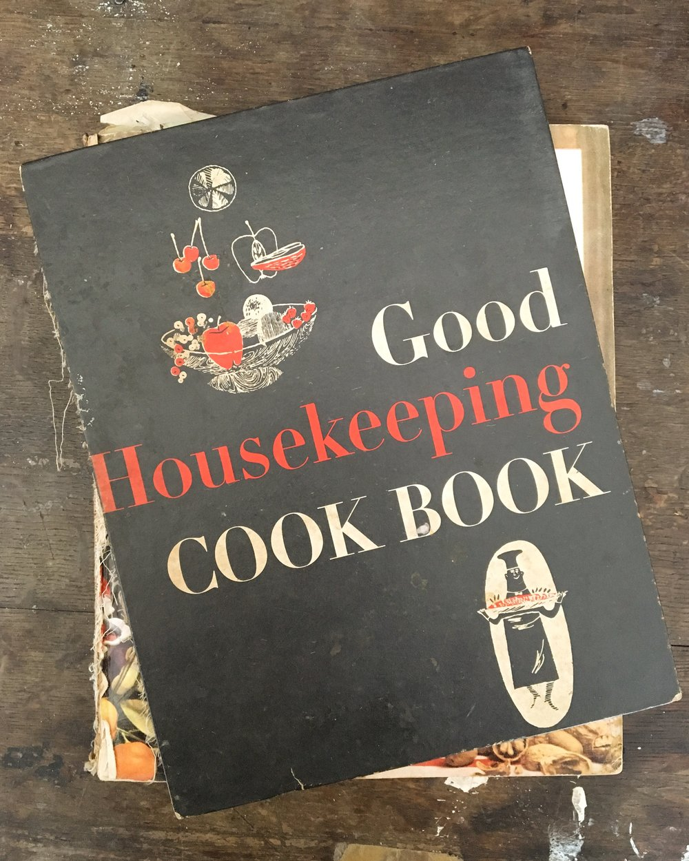 My sweet Nana's cook book. It's tattered and filled with clippings, Christmas gift lists, notes about things she wanted to remember. Good Housekeeping Cook book, 1955
