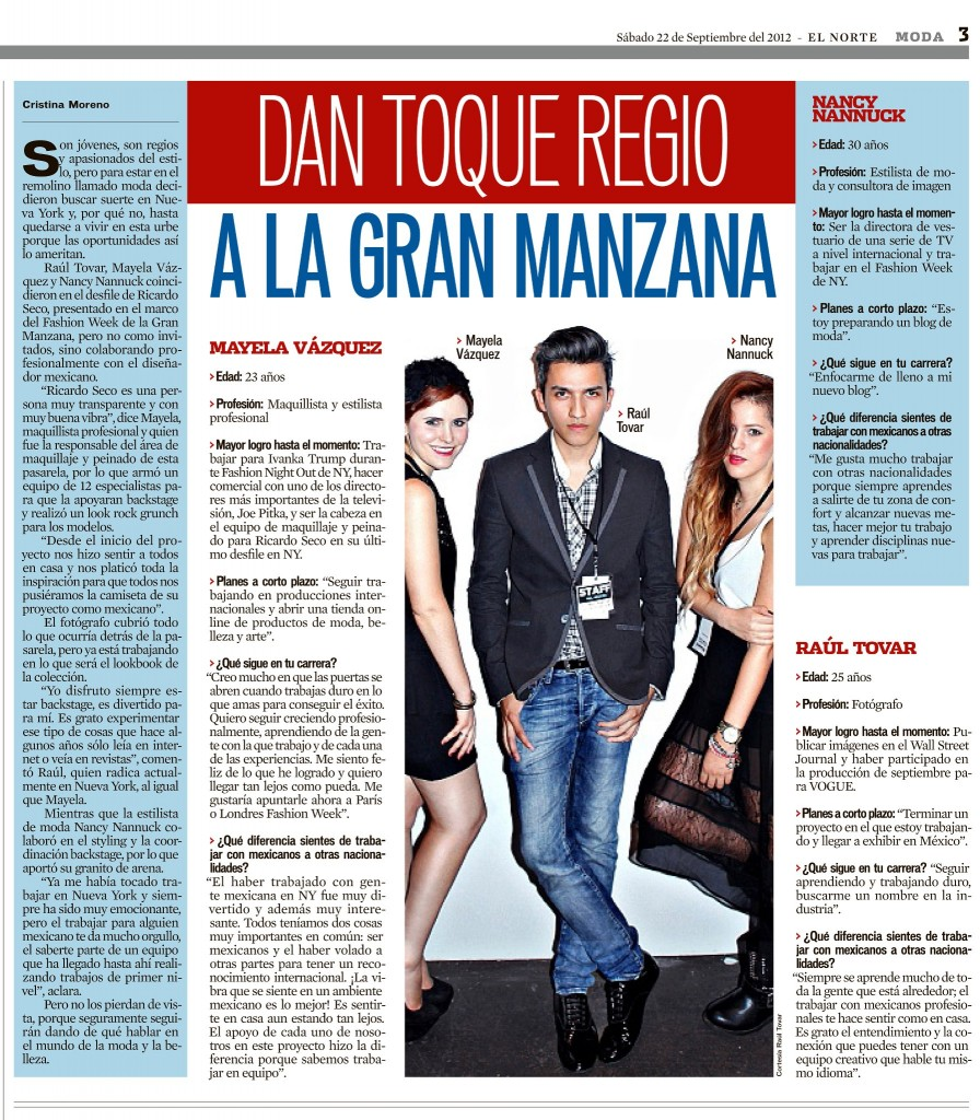 "Newspaper ""El norte"": Interview from NY"