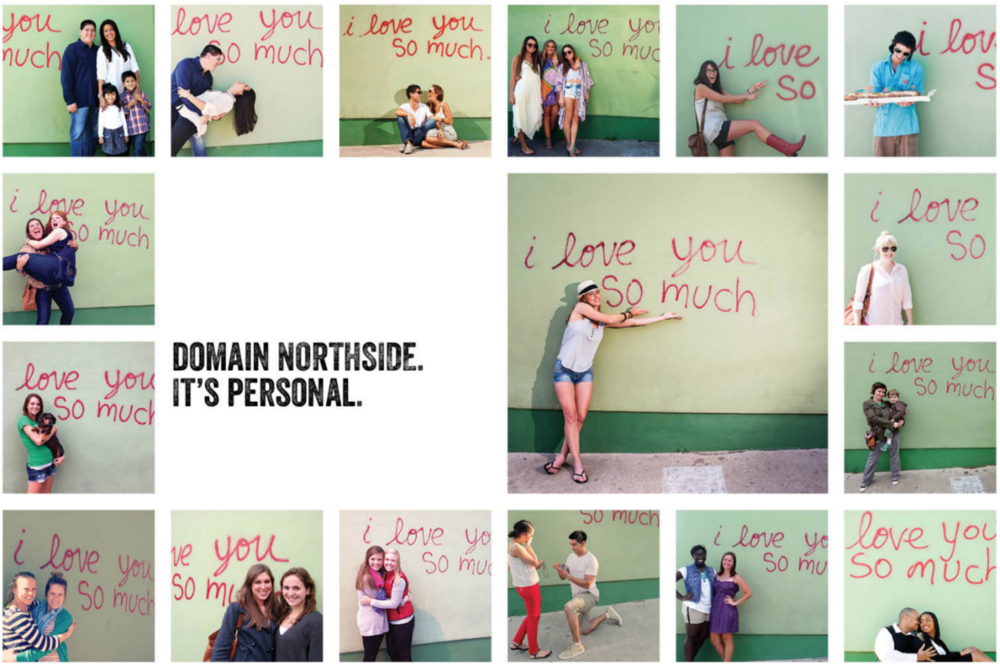 """Although Domain NORTHSIDE and Northwood Retail say that the brochure's wording doesn't reflect their values, the closes they came to including Black women in their marketing snapshot is on the last page, which features photos in front of Austin's iconic """"i love you so much"""" mural — which is not located within Domain Northside."""