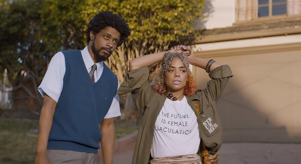 "Lakeith Stanfield and Tessa Thompson in ""Sorry to Bother You."" Courtesy images"