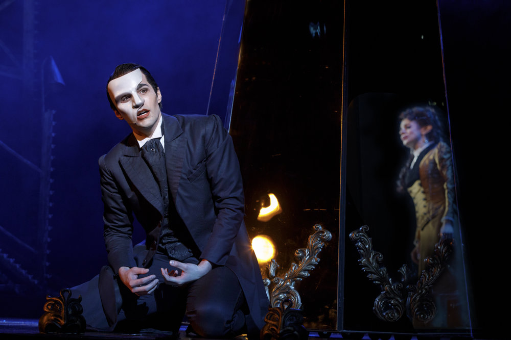 "Bronson Norris Murphy (""The Phantom"") and Meghan Picerno (""Christine Daaé"") star in ""Love Never Dies."" Photo by Joan Marcus"