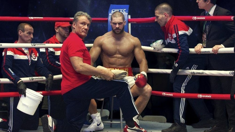 "Dolph Lundgren and Florian Munteanu in ""Creed II."""