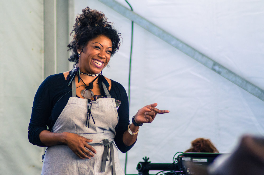 Nyesha Arrington during her live cooking demonstration at 2018's Austin Food + Wine Festival. Photo by Nick Bailey