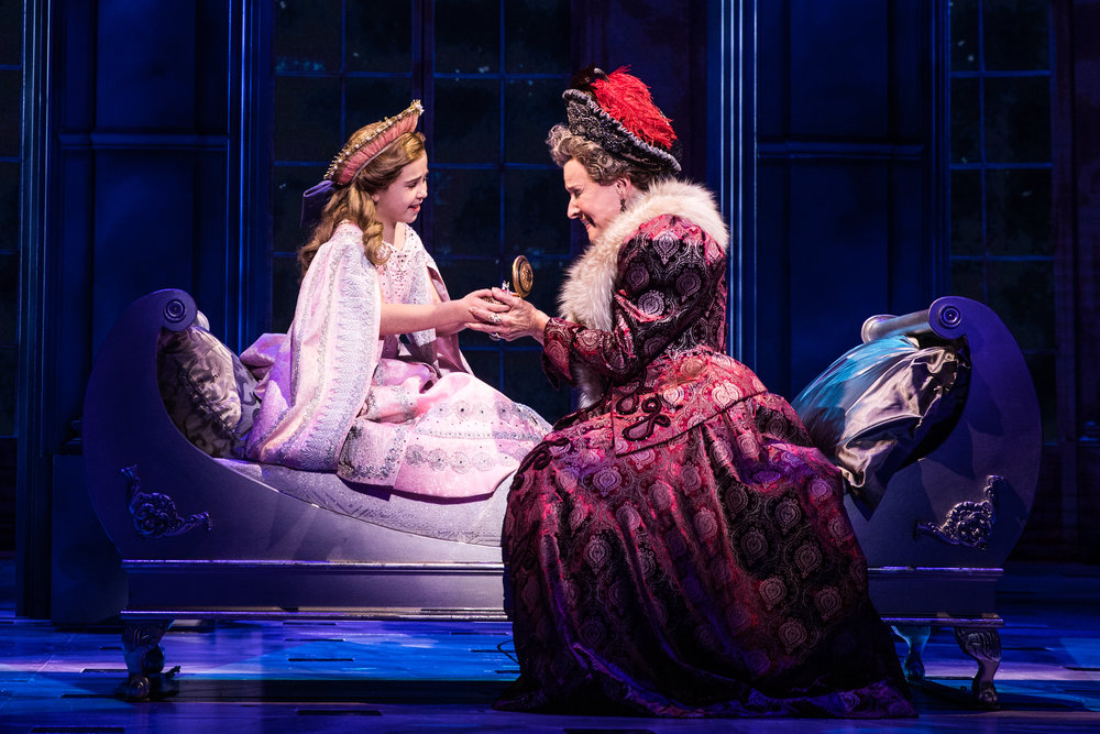 Victoria Bingham (Little Anastasia) and Joy Franz (Dowager Empress) in the National Tour of ANASTASIA. Photo by Evan Zimmerman, MurphyMade
