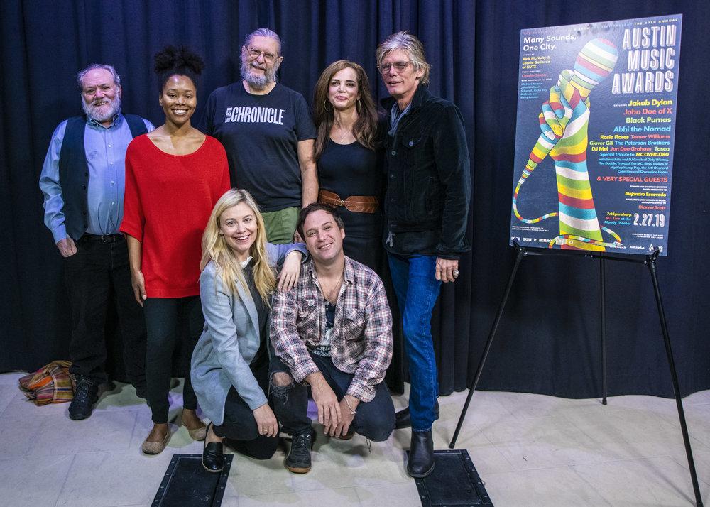 RtoL: Charlie Sexton, Celeste Quesada, Chronicle Staffers, Louis Black, Sarah Wolfe and Kevin Curtin on bottom row. Courtesy photo