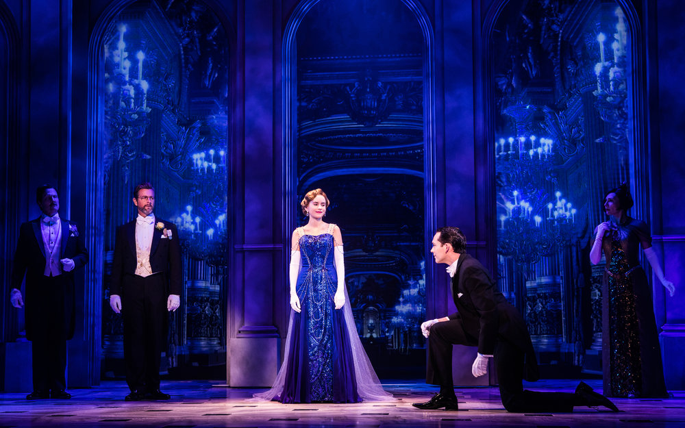 Lila Coogan (Anya), Stephen Brower (Dmitry) and the company of the National Tour of ANASTASIA. Photo by Evan Zimmerman, MurphyMade