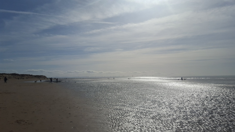 Beautiful Crosby beach, a short drive from where we now live.