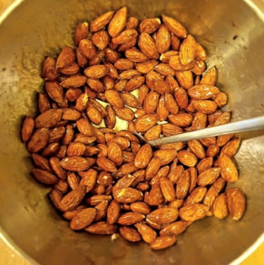 mixing the almonds with your syrup of choice.