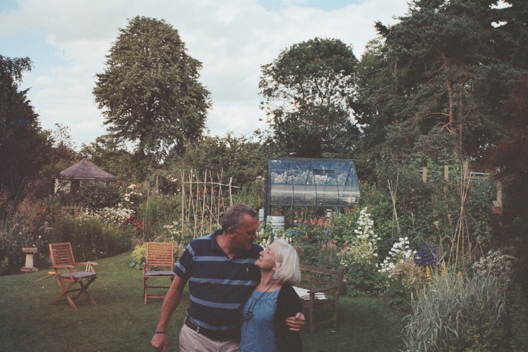 A new photo from an old camera film - My wonderful parents in their little and beautiful garden.