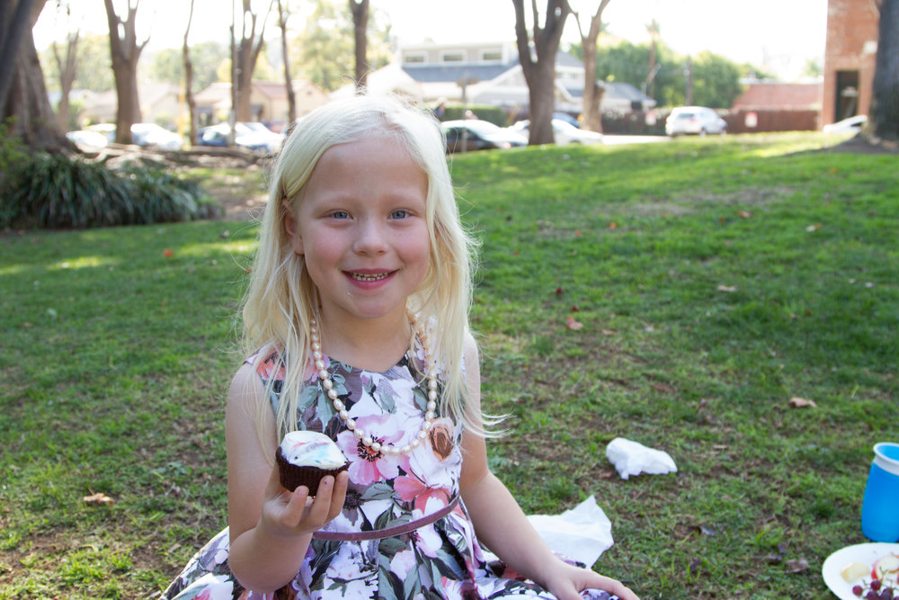 Ellen, 6, enjoying a cupcake after a performance. Celebrating after performing is a wonderful way to assure students that yes, all of the hard work really does pay off!