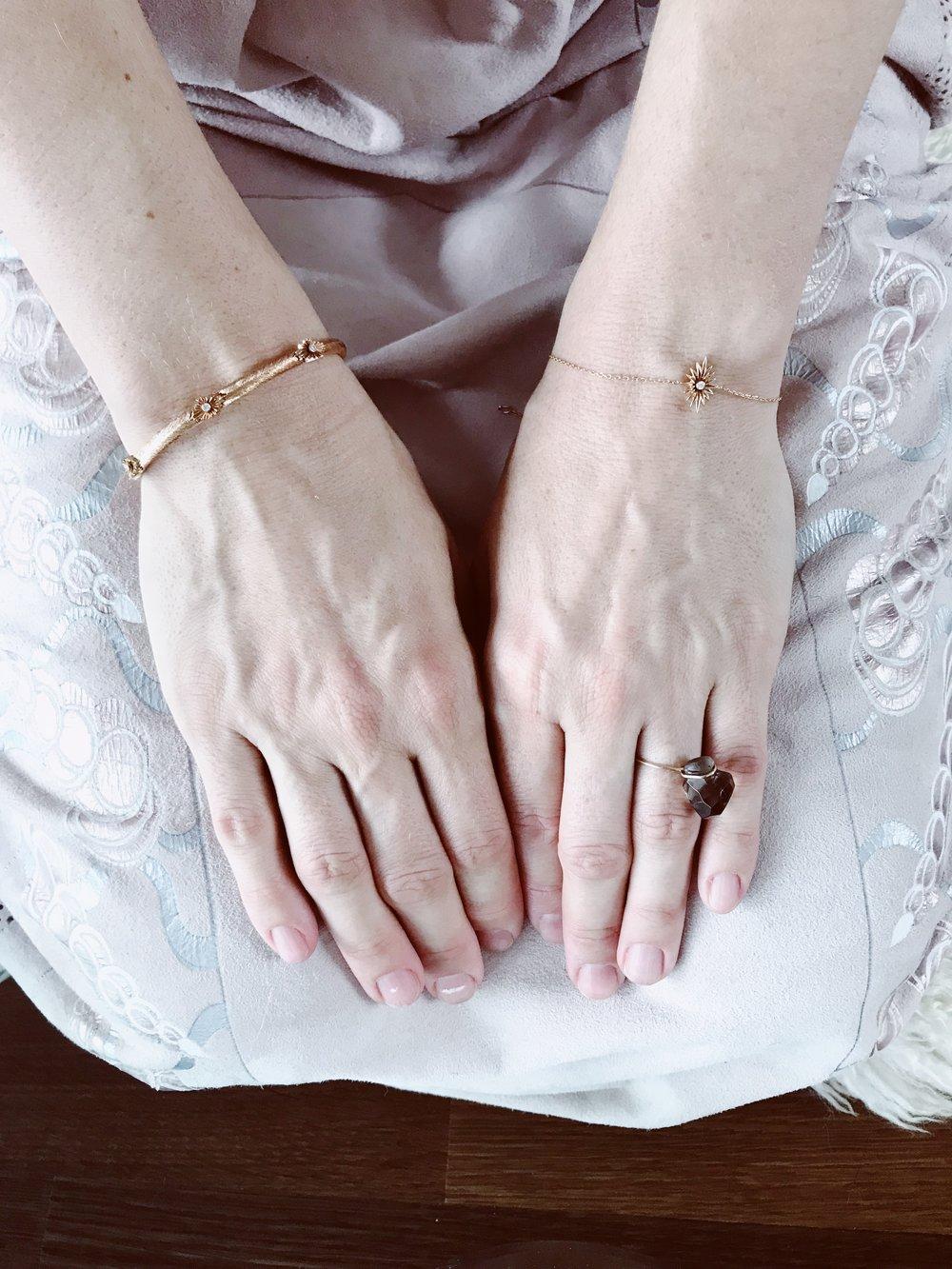 Quartz fumé jonc et bracelet etoile ardente Chagrain
