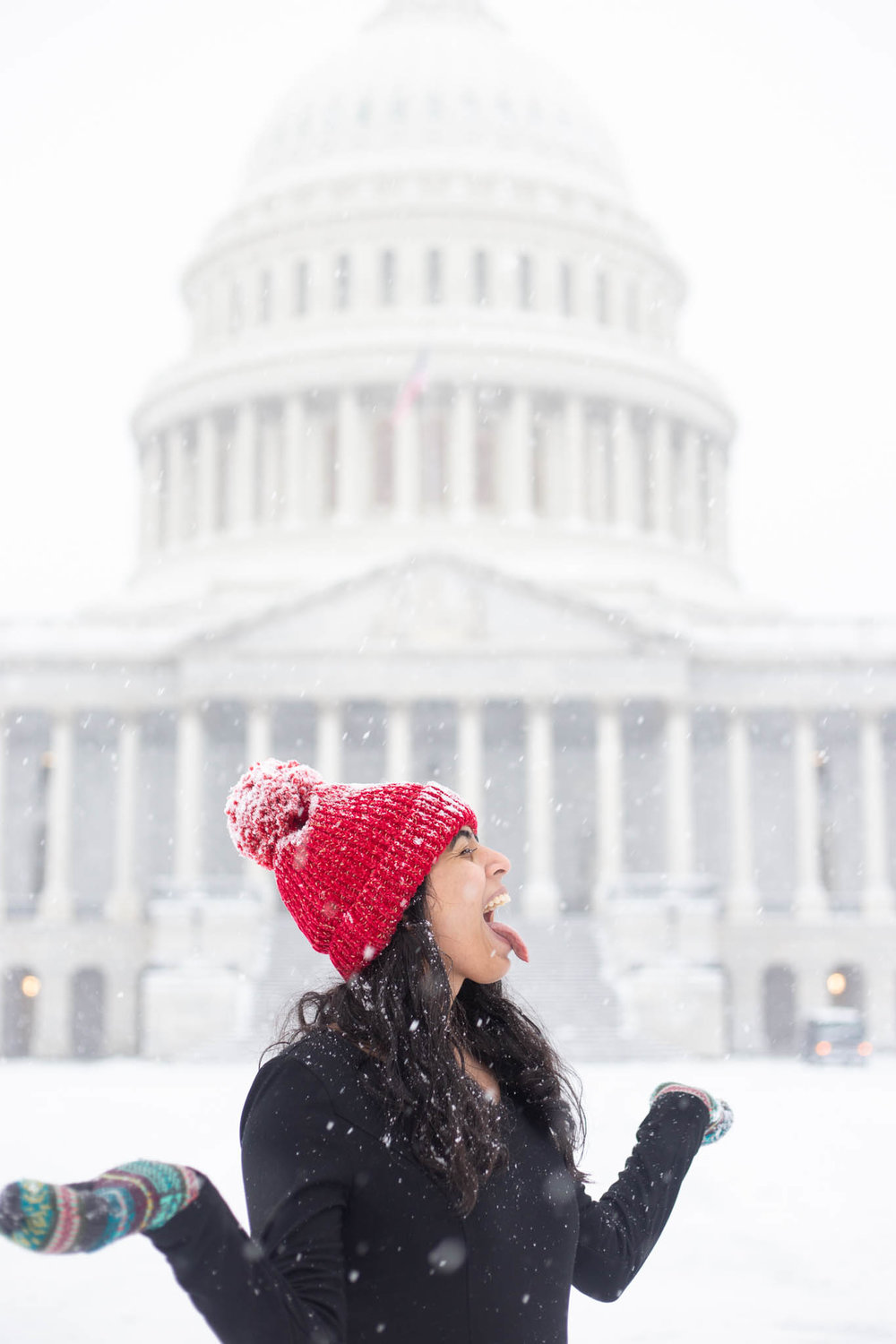 Catching snowflakes by Capitol Hill