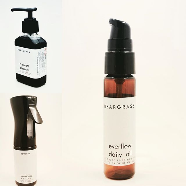 New product lineup. Charcoal cleanser. Everyday spray. Everflow daily oil. Web store opens in 48hrs. Link in bio.