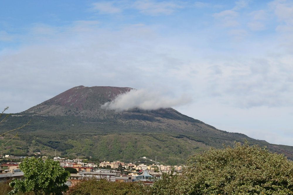 Mount Vesuvius casually chilling in the backdrop of my hostel